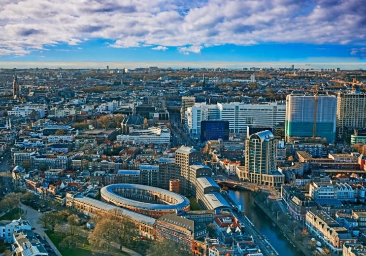 Aerial view of the skyline of the Hague in Holland at sunset