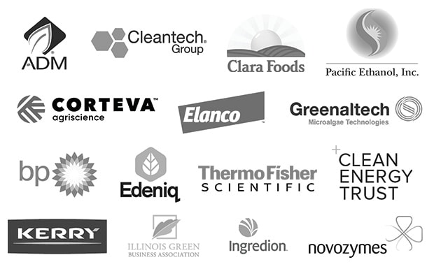 Corporate Logos: ADM (Archer Daniels Midland), Cleantech Group, Clara Foods, Pacific Ethanol, Corteva Agriscience, Elanco, Greenaltech, BP, Edeniq, Thermo Fisher Scientific, Clean Energy Trust, Kerry Ingredients, Illinois Green Business Association, Ingredion, and Novozymes.