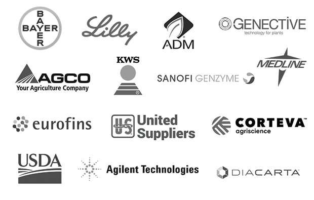 Corporate Logos: Bayer, Eli Lilly, ADM (Archer Daniels Midland), Genective, AGCO Corporation, KWS, Sanofi Genzyme, Medline Industries, Eurofins Scientific, United Suppliers, Corteva Agriscience, United States Department of Agriculture, Agilent Technologies, DiaCarta, Inc.