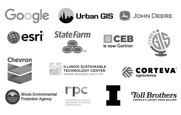 orporate Logos: Google, Urban GIS, John Deere, Esri, State Farm, Gartner, CyberGIS, Chevron, Illinois Sustainable Technology Center - Prairie Research Institute, Corteva Agriscience, Illinois Environmental Protection Agency, Champaign County Regional Planning Commission, University of Illinois and Toll Brothers.