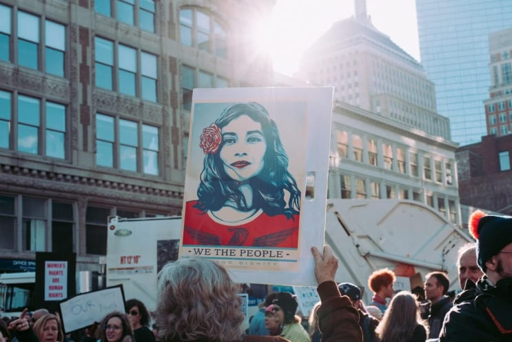 This sign was a trademark of the Women's Marches around the world on Saturday. The posters were available to download for free and were printed by many as a (literal) sign of solidarity.   https://obeygiant.com/people-art-avail-download-free/