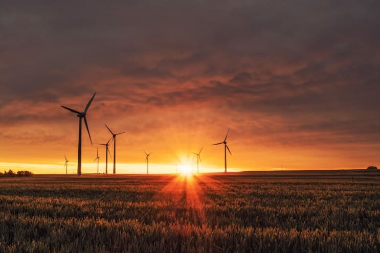 Wind turbines at sunrise