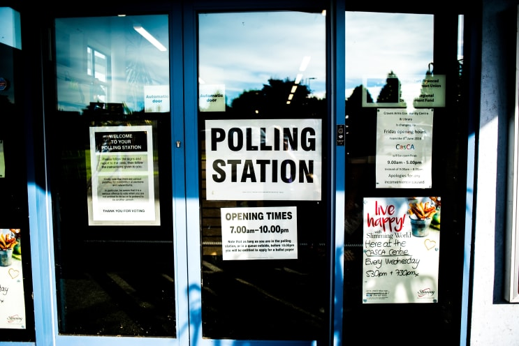 Polling station sign door