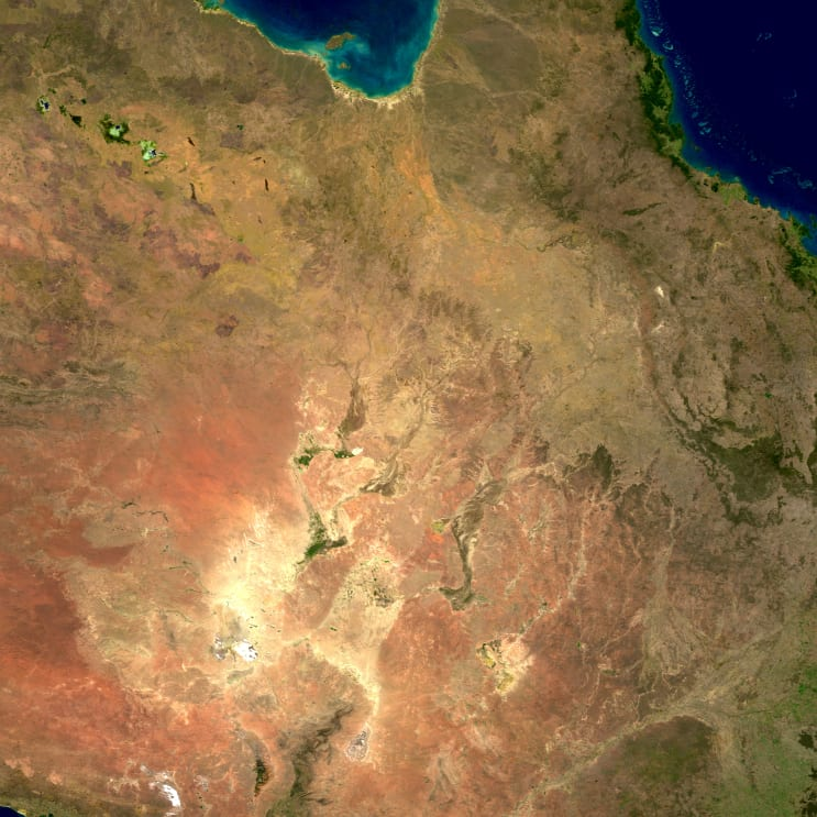 Australia is the smallest, and flattest, of all the continents. Its surface details are largely the result of erosion. Many rivers drain into the continent's harsh, arid interior, where they terminate in salt lakes that are dry for most of the year. Australia's coastal regions, however, are famous for astounding biodiversity, from the Great Barrier Reef in the northeast to Shark Bay in the west.