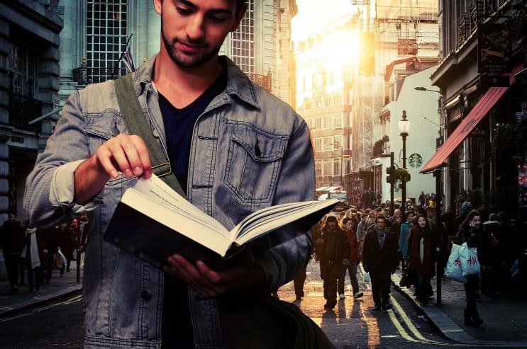man student, read, book