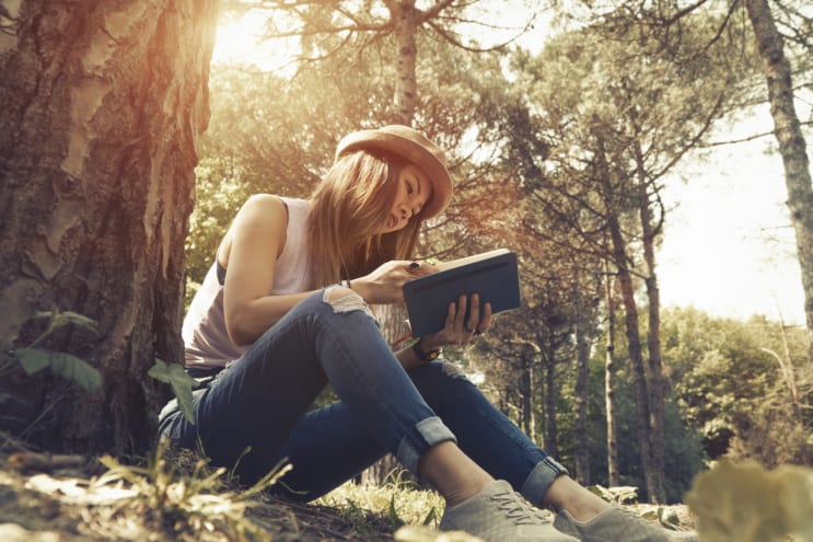 Reading in woods