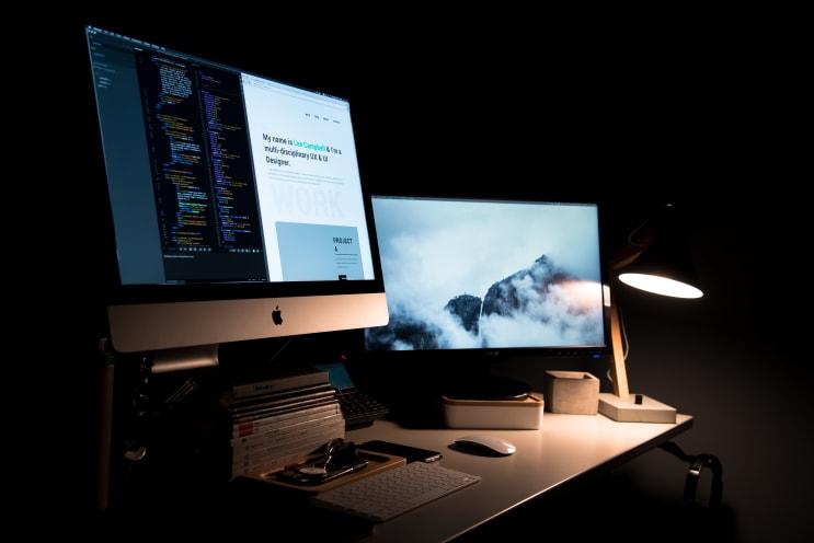 Designer's two-screen setup