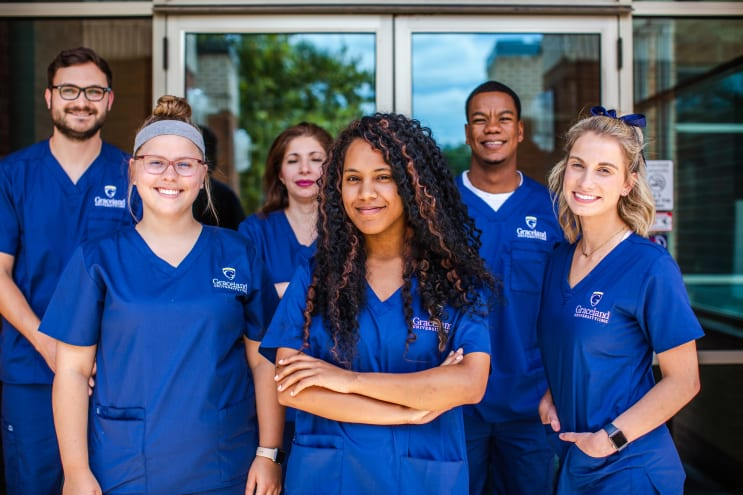 Group of nurses in Graceland nursing scrubs