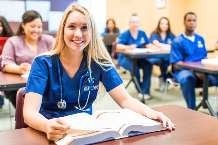 Female nursing student in classroom setting