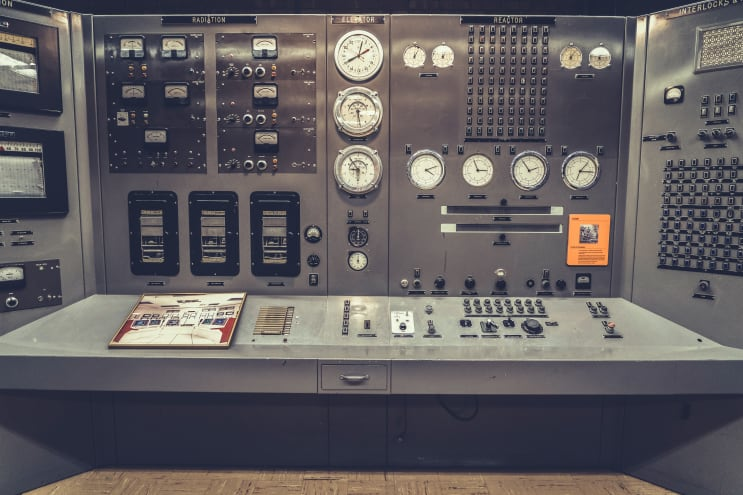 All that's missing is Homer Simpson sleeping in a chair with a box of pink donuts nearby. This is the control panel of the first nuclear power plant ever built. I love the retro 1950s style, dials, buttons, and lights. This is a free museum located in a remote part of Idaho, that's only open to the public for a few months each summer.