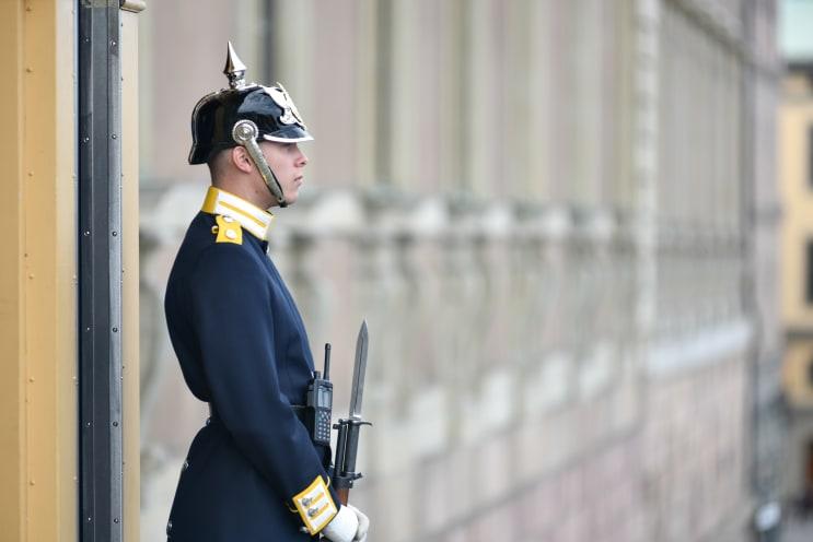 Soldier Stands Palace of Stockholm Sweden