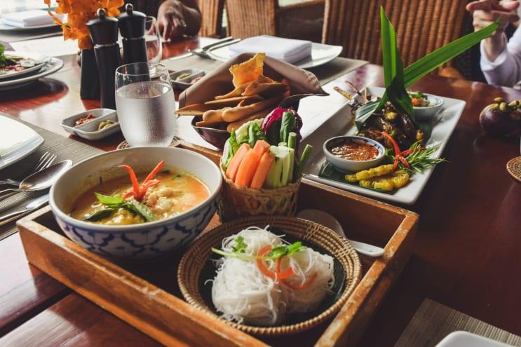 Thai food served at a restaurant in Phuket, Thailand.