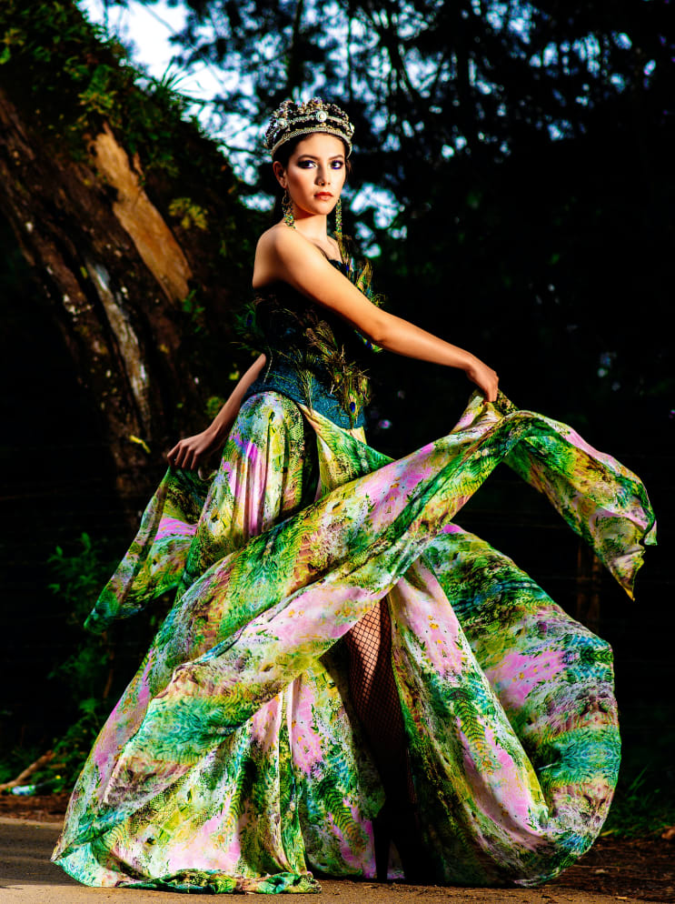 Fashion Model Dancing in the Woods with Beautiful and Colorful Spring Dress Costa Rica