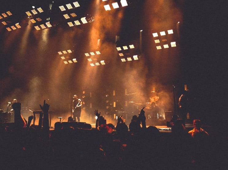 Rock gig under floodlights