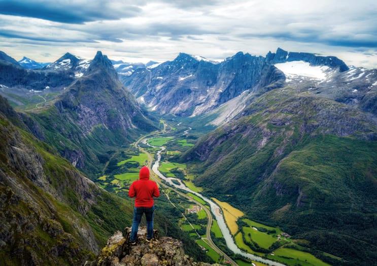 Woman hiking in Norway