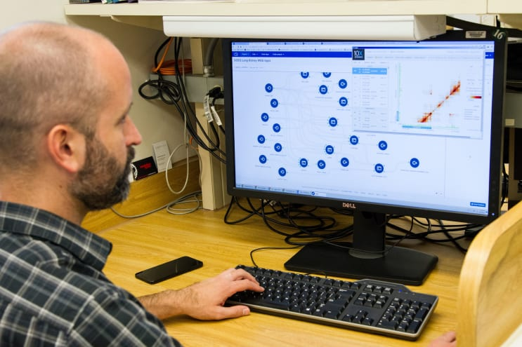 DNA Genotyping and Sequencing. A bioinformatician analyzes DNA integration data from human papillomavirus (HPV) at the Cancer Genomics Research Laboratory, part of the National Cancer Institute's Division of Cancer Epidemiology and Genetics (DCEG). Storing, analyzing, integrating, and visualizing large amounts of biological data and related information, as well as providing access to it, is the focus of bioinformatics.