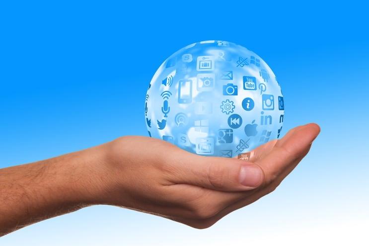 social media, icon, hand