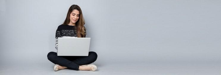 woman, laptop, business