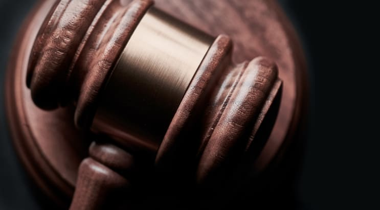 Gavel on black background with copy space. Concept for legal, lawyer, judge, law, auction and attorney.