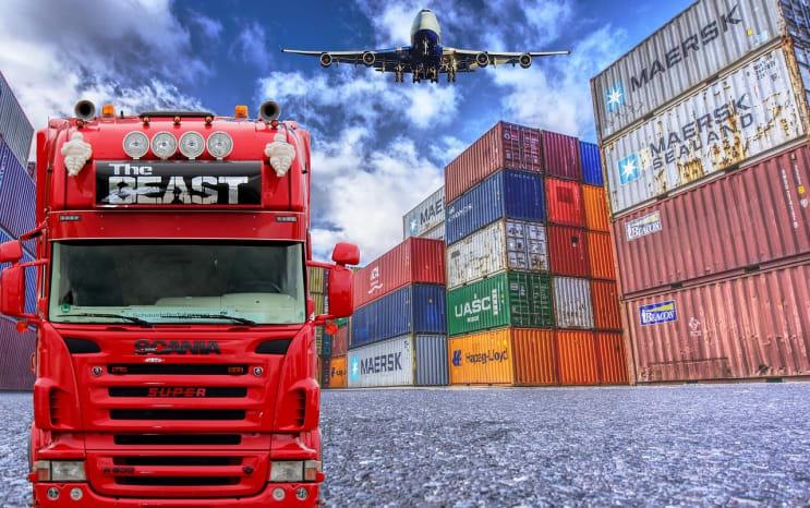 logistics, truck, container