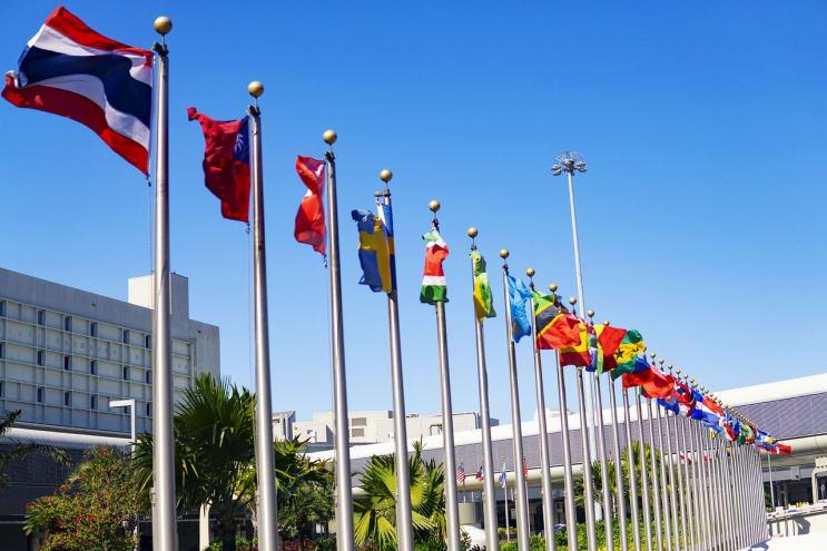 international, flags, un