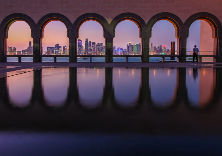 Skyline of Doha, Qatar during blue hour