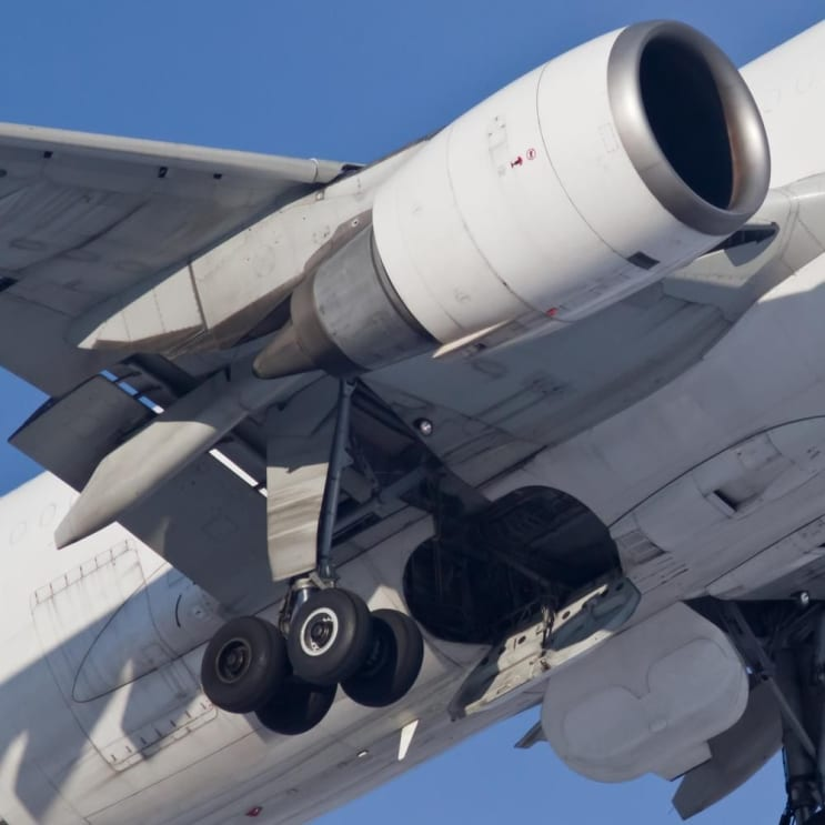 Engine and chassis during takeoff, closeup