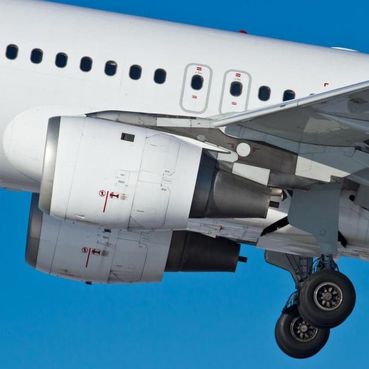 Aircraft engines and chassis at takeoff, closeup