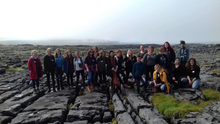 Students at Richard Long installation, Doolin, Ireland