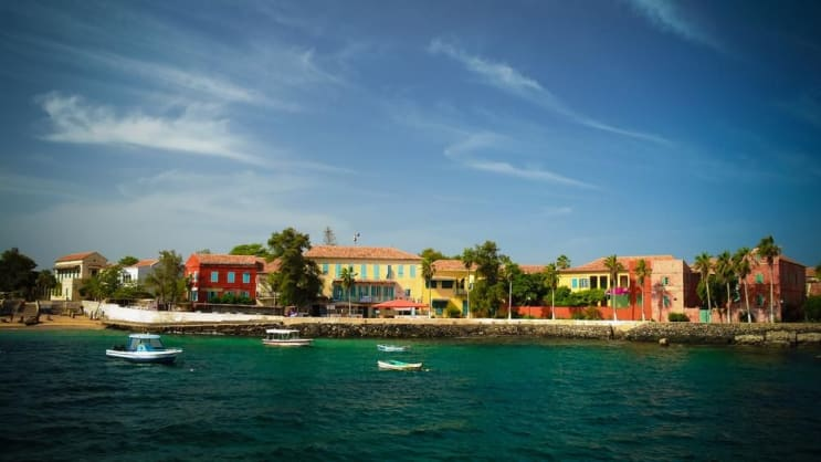 View to historic city at the Goree island in Dakar, Senegal
