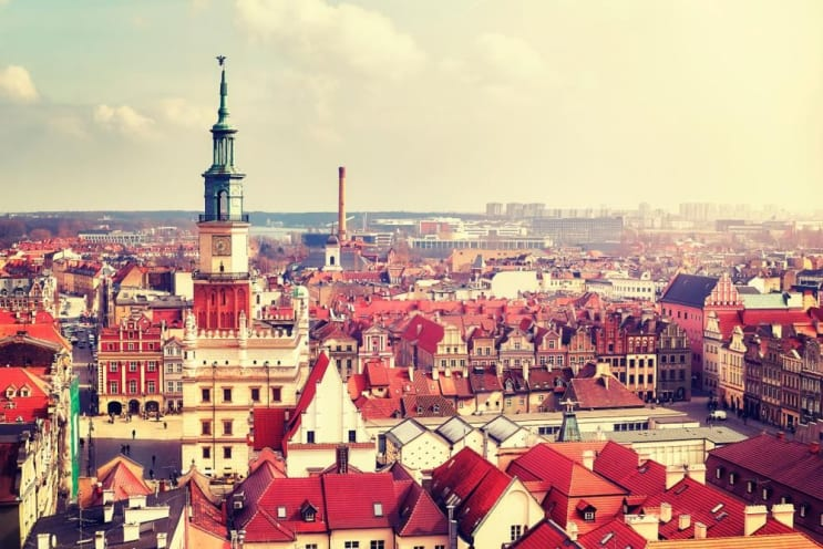 Aerial view of the Poznan Old Town, vintage color toned picture, Poland.